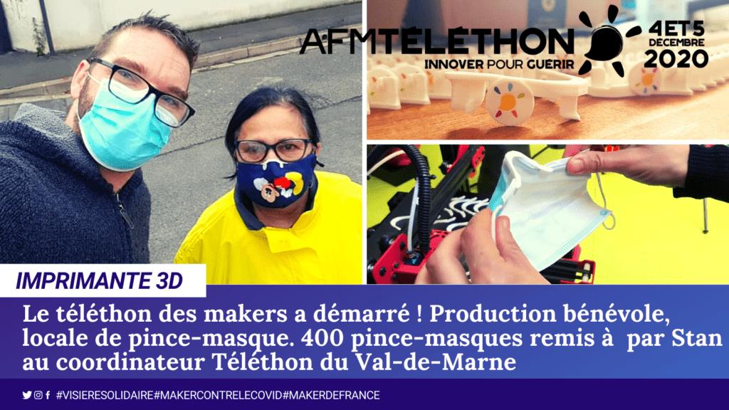 Stan du Val-de-Marne a remis ces impressions 3D de pince-masques.