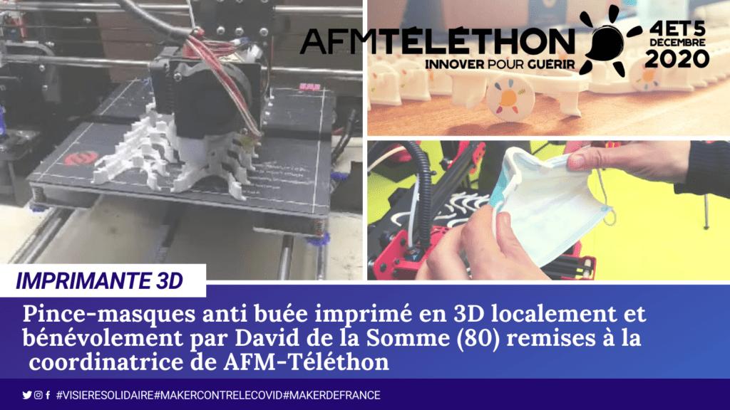David de la Somme département 80 imprime l'objet 3D pince masque