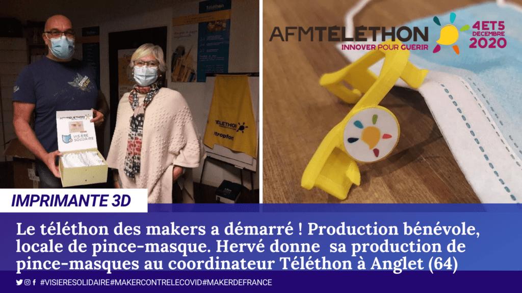 Hervé soutient le téléthon et imprime des pince pour masques (département 64).