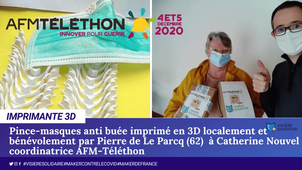 Les makers des départements 59 et 62 fabriquent les pince-masques antibuée bientôt disponibles chez vos ambassadeurs Téléthon au prix de 2€ entièrement reversés au Téléthon. Solidairement plus fort ensemble !